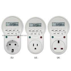 220V-230V minuterie dans la douille de l'interrupteur Power Timer LCD numérique à haute efficacité énergétique de l'interrupteur de temps programmable UE /us Temporizador /prise UK