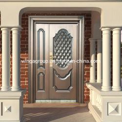 Villa populares no exterior em liga de aço porta de cobre metálico de segurança W-Stz-11