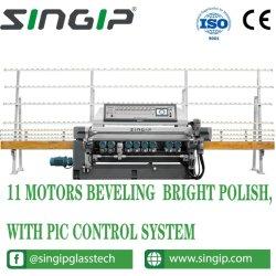11 أداة تحرير الحافة المخروطية للحافة الزجاجية الخاصة برأس الطحن مع نظام التحكم PLC