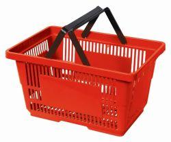 高品質の昇進の倍のハンドルのプラスチック買物かご