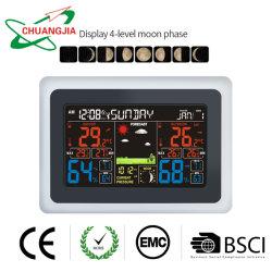 Dcf controlado por radio reloj de pared con Estación meteorológica exterior interior barómetro