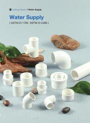 ASTM Sch40 (UPVC plástico) para tubos na norma ASTM D-2466 AES para abastecimento de água (Cotovelo, ETE, Soquete, reduzindo a Bush, etc)