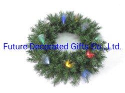 عيد ميلاد صناعي منزل تزيين إكليل هدية مع PVC نصائح و المصابيح