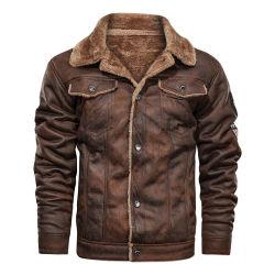 Coffee Brown Couleur Millésime Mens veste de vol en cuir avec de la fourrure de l'hiver pour les hommes