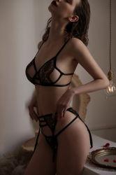 Lenceria Sexy de las mujeres con Garter Belts Lace Bra y Panty conjunto Babydoll Correa Teddy