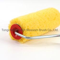Strumenti del hardware strumento giallo su ordinazione poco costoso del manico di spazzola del rullo di vernice della spazzola del rullo dei capelli fini da 9 pollici