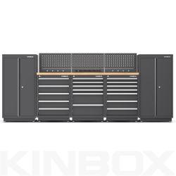 2020년 Kinbox 직업적인 시리즈 검정은 차 수선 엔지니어 또는 차고 조직을%s 16 피스 공구 내각 놓았다