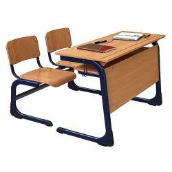 Metallrahmen-Schule-Klassenzimmer-Kursteilnehmer-hölzernes Hochschulmöbel-Großverkauf-Schreibtisch-Set