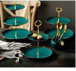 Creatieve drielaagse Dessert Plate, twee-laags fruitschaal met Gold Rim Dinner Plate