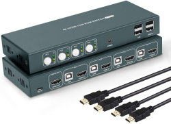 4 X 1 HDMI KVM-switch 4-poorts Ultra HD 4K@30Hz, USB 2.0, HDCP 1.2, geen voedingsadapter vereist, ondersteunt draadloos invoerapparaat en Hotkey-switch, met 4 HDMI