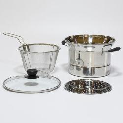 Küchengeräte Kochgeschirr Multifunktionsrestaurant Kantine Hotel Utensil Edelstahl Suppe Kochen Nudelnudeln Pasta Topf mit Sieb-Sieb und Dampfgarer