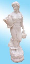 Белые мраморные скульптуры девочек проведение корзину(H170см)