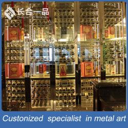 LEDライトが付いているガラスワインの飾り戸棚が付いているステンレス鋼