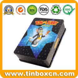Caso Estanho DVD retangular para as crianças, Metal CD Caixa de estanho