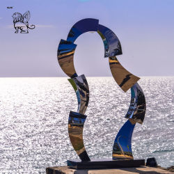 Resumen de acero inoxidable puerta espejo de la ciudad de Mar Decoración Sssg escultura-07