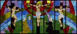 Kunst-Buntglas-Kirche Windows u. Panels Jesus auf dem Kreuz