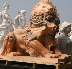 Jardin de sculptures en pierre rose Statue Lion Animal Sculpture sur Marbre