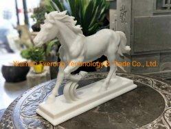 Marbre naturel en sculpture sur pierre de taille de la vie des animaux cheval sculpture pour la décoration de jardin/Home/don