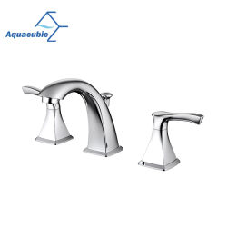 Aquacubic Cupc는 증명했다 물 목욕탕 물동이 꼭지 (AF8032-6)를 제외하고 넓은 퍼짐 3 구멍 두 배 손잡이를
