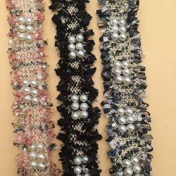 Los encajes de perlas Perlas de recorte para decorar Borla adornos de encaje de cinta para vestir
