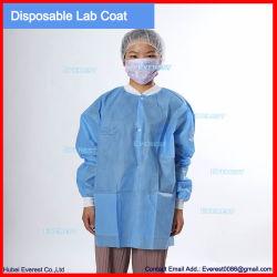 Blouse de laboratoire non tissé avec col en tricot