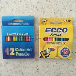 12pcs en bois Jeu de crayons de couleur en impression couleur Box