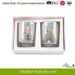 Set von 2 Galvanisieren Glaskerze mit Abziehpapier in Geschenkbox für das Festival