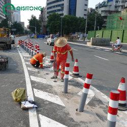 barriera d'acciaio della strada del tubo di Delineator LED di sicurezza di 39 '' di traffico del cono d'avvertimento riflettente solare senza fili dell'alberino