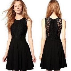 Robe dentelle élégante mini robe en mousseline noire Prom