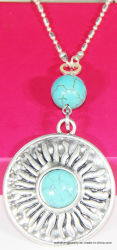 La mode Anti Silver Handmade rond et turquoise Collier Pendentif en pierre naturelle