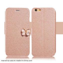 Cassa di cristallo di lusso del telefono della cassa del raccoglitore del cuoio della farfalla del diamante per il iPhone 8 7