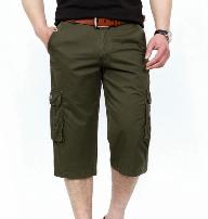 Os homens Top-Quality sarjado de algodão da moda de lazer de lona verde azeitona calça curta