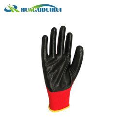 Haute qualité avec noir en nylon rouge Gants enduits à base de nitrile