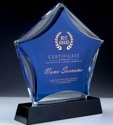 Commerce de gros Verre en cristal bleu blanc Réalisation Trophée 3D Star et personnalisée de la reconnaissance d'entreprise à bon marché du travail en équipe Award
