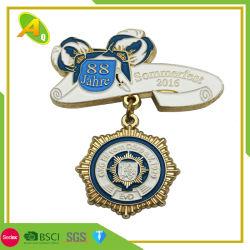 Novo design em liga de zinco personalizada de moedas metálicas medalha em relevo Metal personalizados de design em liga de zinco Gold Award Medal of Honor com Ribbon (121)