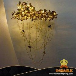 Unión con un interior moderno de lujo decorativa Iluminación lámpara de araña de hojas de Flor de Oro (KA1212-185)