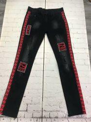 Les hommes design imprimé Casual Biker insignes Pantalon jeans denim brossé