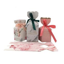 Vakje van het Document van de Gunst van het Huwelijk van de Luxe van de douane het Zoete met Vakje van de Gunst van de Partij van het Suikergoed van de Lolly van de Vakjes van de Kaart van de Gift van het Huwelijk van het Lint het Zoete