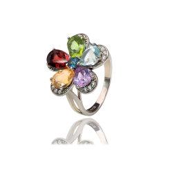 Moda jóias de prata Topaz/Ametista/notas citrinas/Garnet/Peridot Anel Flores para as mulheres