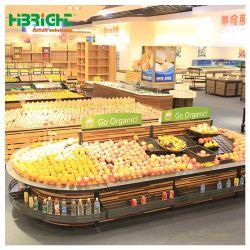 Visualizzazione di legno e d'acciaio di vendita al dettaglio di vendita del supermercato della frutta e della verdura