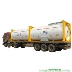 حاوية خزان LPG ISO T50 بطول 20 قدمًا، 30 قدمًا، محمولة 40 قدمًا أو Road Trannsport Un1075 (مارك ألماني، إيسوباوتين، غاز الطهي) سعة 24 كيلو لتر، 42 كيلو لتر