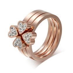 Or Rose Four-Leaf Trèfle chanceux de Crystal Heart 3PCS anneau amovible