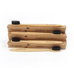 Toothbrush di bambù del carbone di legna biodegradabile naturale 100% ecologico con un pacchetto del contrassegno privato 4