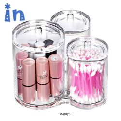 Boule de coton, coton-tige, et Q-Tip Jar de stockage de définir avec 3 compartiments pour une organisation facile sur la salle de bains compteurs sous les tables de placement ou de la vanité du dissipateur