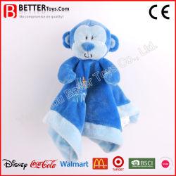 Material seguro mono azul de peluche juguete de peluche suave edredón de Manta de bebé