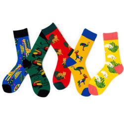 Quantidade mínima de baixa altura do joelho Cool vestir meias tripulação meias de homens com Stripe Grosso Homem personalizados 100 Algodão meias feliz
