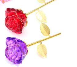 Hot de gros de l'artisanat longue tige de verre en cristal rose fleur