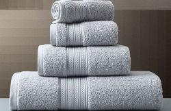 Satin-Rand-Baumwolle 100% färbte Luxuxbad-Gesichts-Tuch-Jacquardwebstuhl-vorzügliche Stickerei-Fünf-Sternehotel-Terry-Tuch-Bad-Tuch-Set