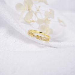Alibaba a Hawaiian boa fé de alta qualidade 18K bodas de ouro puro Rhinestone Diamante Anéis minimalista
