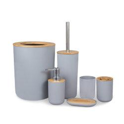 Hotel della famiglia accessori di lusso moderni di plastica della stanza da bagno del coperchio di bambù delle 6 parti